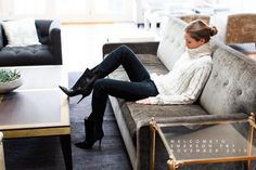 love the sweater, love the pants, love the boots. winter style