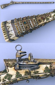 """Un altre exemple d'evolució del Pany Miquelet al llarg del segle XVIII : [[Ottoman miquelet lock, 18th century. Medium: Steel, copper (multiple alloys), gilt copper, ivory, assorted gems, wood, mother-of-pearl Dimensions: Length 60 3/4 in. ( 154.31 cm) caliber .49. Inscription: Mark on the lock """"Muhammad Ayyubi"""", The Collection of Giovanni P. Morosini, presented by his daughter Giulia, 1932, Metropolitan Museum of Art, New York.]]"""