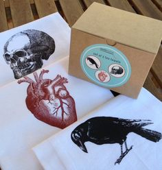 Kitchen Towel Set - Raven, Heart, Skull Flour Sack Tea Towels - Valentines Gift