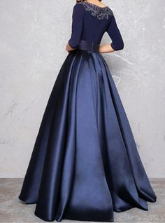 This long prom dress with sleeves is a modern choice for all formal. A long satin evening dress with beaded neck and romantic look. The natural waistline clearly looks good on the line. This navy blue prom dress with pockets is perfect for school dances, Evening Dresses Online, Designer Evening Dresses, Cheap Evening Dresses, Indian Gowns Dresses, Prom Dresses Blue, Satin Dresses, Mother Of The Bride Dresses Long, Prom Dresses With Pockets, Illusion Dress