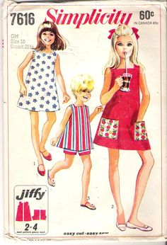 Vintage 1968 Simplicity 7616 Girl's & Chubbies by Recycledelic1