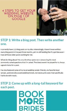 4 Steps to Get Your Wedding Website On Page 1 of Google. Click to read the full article on http://www.BookMoreBrides.com