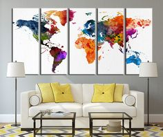 Large wall art blue and turquoise world map on watercolor paper colored watercolor world map canvas art colorful world map art print no004 sciox Images