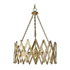 Drum Pendant Light with Gold Cage Shade in Bali Brass Finish | F2902/4BLB | Destination Lighting