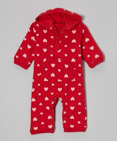 Red Heart Hooded Playsuit - Infant by Leveret #zulily #zulilyfinds