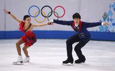 Pang Qing and Tong Jian during pairs free skating at the Sochi 2014 Winter Olympics