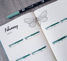 Bullet journal weekly layout, insect drawing, calligraphy header.   @theonewiththebujo