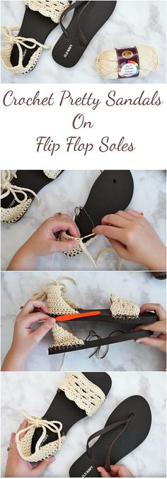 Crochet Sandals With Flip Flop Soles + Free Pattern   A step-by-step tutorial, Video, Photo collage and a free pattern. This article is for those who want to learn how to crochet sandals with flip flop soles for free!