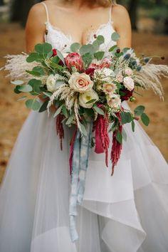 Marsala, dusty blue, burgundy, wedding flowers / bouquet. Boho wedding. Yosemite National Park – Yosemite Wedding – Megan & Casey | Agape Planning. #savoirclaire.com