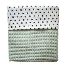 Ledikant deken Wafelstof Babykamer | ster zwart op wit