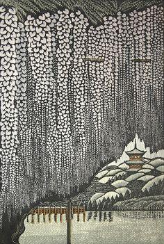 森村玲「三渓園藤棚」Ray Morimora, woodcut