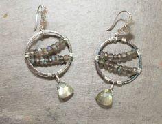 Oxidized Silver Labradorite Wire Wrapped Earrings by Noduri on Etsy