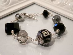 Black Indonesian and Crystal Bead Bracelet by houseofTROCK on Etsy, $15.00
