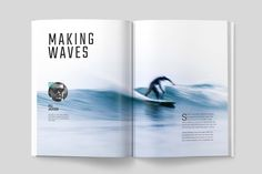Ad: WAVERIDER MAGAZINE by Mashmish_Studio on A modern, minimal, magazine, folio or brochure InDesign template. This layout has been designed as a Surfing magazine, but could easily be Bi Fold Brochure, Brochure Design, Magazine Layout Design, Magazine Spreads, Newspaper Design, Grid Layouts, Indesign Templates, Letter Templates, Card Templates