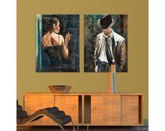 Maybe, δίπτυχος  πίνακας σε καμβά (multipanel) Flat Screen, Living Room, Painting, Art, Blood Plasma, Art Background, Sitting Rooms, Painting Art, Kunst
