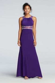 Beaded illusion floor length prom dress at david 39 s bridal for Do dry cleaners steam wedding dresses