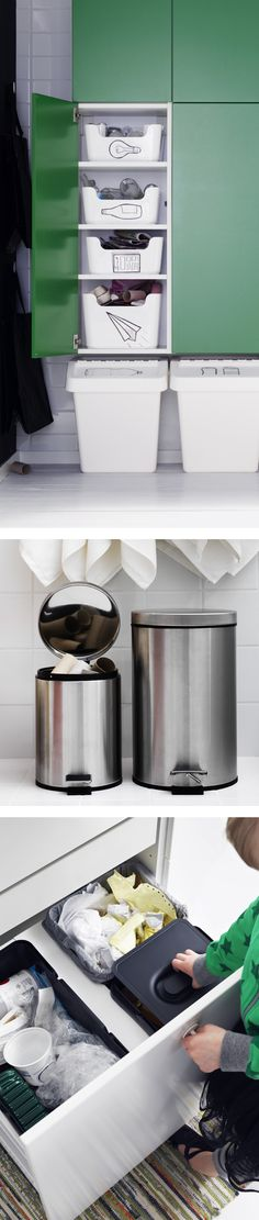 Make sorting and recycling easier by placing easily accessible stations in every room of your home! Find IKEA ideas for waste reduction and sorting.