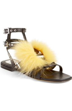 Shop Fendi 'bugs' Genuine Fox Fur Sandal (women) from stores. Wedge Sandals, Leather Sandals, Shoes Sandals, Shoes 2016, Fendi Bags, Fox Fur, Shoe Boots, Gucci, Footwear