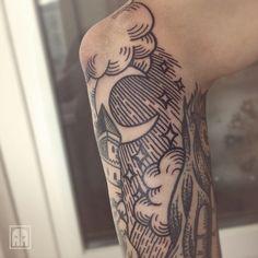 """aleksandrageev: """"#moon #clouds #castle #stars #ageevtattoo #Kyiv #tattooinukraine #tattoo #traditionaltattoo #tattoolookbook #style #ebonytattoo """""""