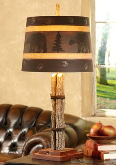 Twig Table Lamp with Painted Bear Shade- I do like the shade & would look Christmasy on other thinks-card, wall, art, etc.