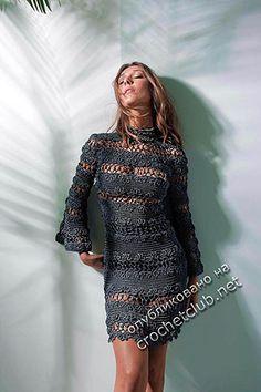Вязаное платье из новой коллекции бразильского дизайнера Giovana Dias. Авторская схема узоров и описание вязания от Beleza