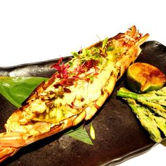 Love seafood? Then this new dish is for you, Grilled Giant African Prawn!  Marinated in oriental salsa verde, it's meaty & juicy, perfect with ice-cold white wine!  Ψ(゚∀゚)Ψ