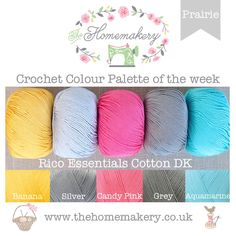 This weeks Prairie inspired Crochet Colour Palette uses pops of pink, blue and yellow against grey shades of coloured yarn from Rico Essentials Cotton DK , a lustrous mercerised yarn made from cotton. Yarn Color Combinations, Colour Schemes, Colour Palettes, Crochet Crafts, Crochet Yarn, Crochet Blanket Edging, Crochet Hair Styles, Pink Candy, Color Pallets
