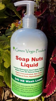 Green Virgin Products - Soap Nuts Liquid, 16 Ounces, 240 HE wash Loads,                                 I add different essential oils, geranium, grape seed, love, love this cleaner