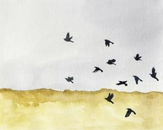 Nature wall art watercolor archival art print gold gray black flock of birds  8x10 11x14 'Autumn Crows' by moonflowermuse on Etsy https://www.etsy.com/listing/193288093/nature-wall-art-watercolor-archival-art