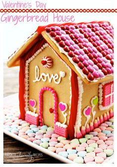 Valentine's Day Gingerbread House on MyRecipeMagic.com