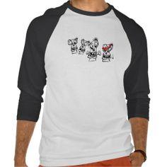 3/4 t shirt 4 Skulls design