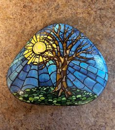 Excited to share this item from my shop: Stained glass look, hand painted rock paperweight from Heart Painting, Pebble Painting, Hand Painting Art, Pebble Art, Stone Painting, Spray Painting, Stained Glass Paint, Rock Painting Designs, Hand Painted Rocks