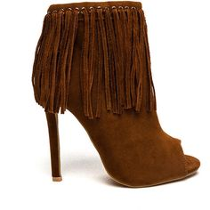 BROWN Grommet Girl Fringed Peep-Toe Booties ($9.95) ❤ liked on Polyvore featuring shoes, boots, ankle booties, ankle boots, brown, peep-toe booties, peep toe booties, short fringe boots and fringe ankle boots