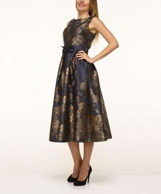 Look what I found on #zulily! Navy & Gold Floral Belted A-Line Dress #zulilyfinds