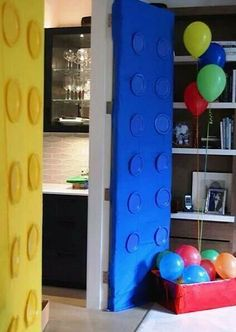 Lego Doors - Plastic table cloths and plastic plates!!