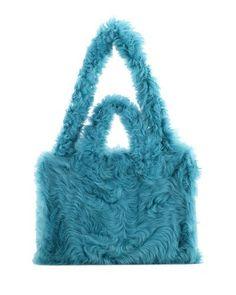 Shearling Fold Shopper Tote Bag, Blue
