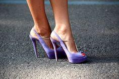purple high heel sandals