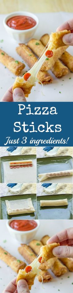 These crispy Pizza Sticks are bursting with a full stick of string cheese each and loads of pepperoni for the ultimate fried pizza snack. Only 3 ingredients! Pinned over 6,000 times!