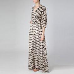 Vestido Longo Losangos Bege