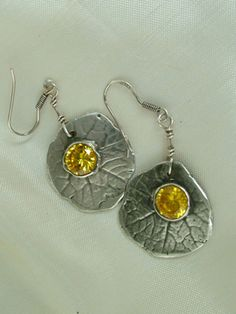 Nasturtium leaf earrings with yellow cubic zirconia, Fine silver