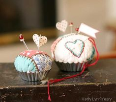 Tart tin pin cushions and use vintage quilted pieces