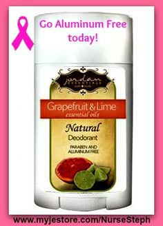 Make the switch to aluminum free deodorant in honor of Breast Cancer Awareness month.  Do it for yourself and your loved ones, do it today! www.myjestore.com/NurseSteph www.facebook.com/NurseStephwithJE