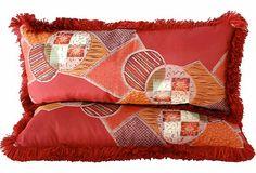 vintage Japanese silk fabric pillow pair