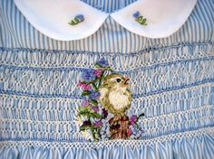 Hand Smocked and Embroidered Girls  Dress Size 3/Flowers, Stripes and Birds, Oh My via Etsy