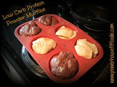 Low Carb Protein Muffins. 4 scoops protein powder, 8 egg whites/1 cup, 1/2 cup greek yogurt, 2 teaspoons baking powder, 2-3 tablespoons sweeter. 350 degrees for 15 minutes. Protein Powder Muffins, Low Carb Protein Powder, Low Carb Protien Shakes, Low Carb Protein Bars, Protein Powder Recipes, High Protein Recipes, Low Carb Recipes, Whey Protein, Easy Recipes