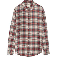 Band of Outsiders Plaid woven cotton shirt ($150) ❤ liked on Polyvore featuring tops, blouses, shirts, flannels, red, loose fitting shirts, tartan plaid shirt, red tartan shirt, plaid blouse and red plaid shirt