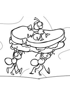 ant coloring pages click to print ants with sandwich coloring page - Ant Coloring Page Black White