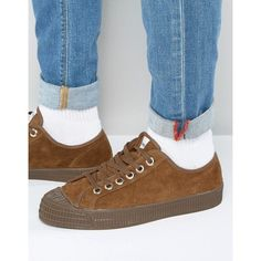 Novesta Star Master Suede Low Plimsolls ($60) ❤ liked on Polyvore featuring men's fashion, men's shoes, men's sneakers, brown, mens lace up shoes, g star mens shoes, men's low top shoes, mens brown cap toe dress shoes and mens brown leather sneakers