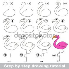 Drawing tutorial for children. How to draw the funny Flamingo - stock vector Flamingo Vector, Flamingo Art, Flamingo Painting, Doodle Drawings, Doodle Art, Animal Drawings, How To Draw Flamingo, Cute Easy Drawings, Rock Crafts