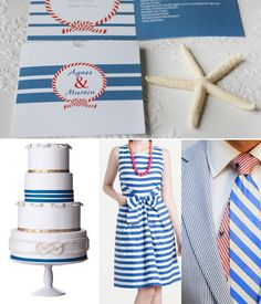 Sea Shell Beach Wedding Simple and elegant nautical invitations, nautical stationery. Navy stripes and anchor, blue, white and red